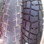 Neumáticos de motocicleta gastados